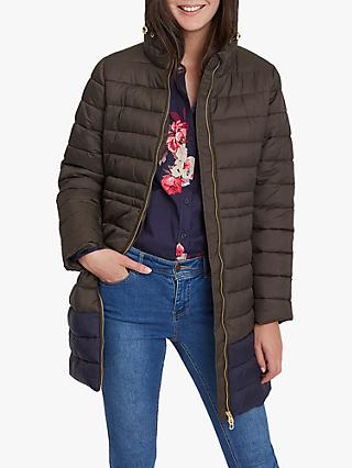 Joules Heathcote Colour Block Quilted Coat, Heritage Green