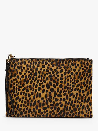 Whistles Hampstead Leopard Print Clutch Bag, Multi