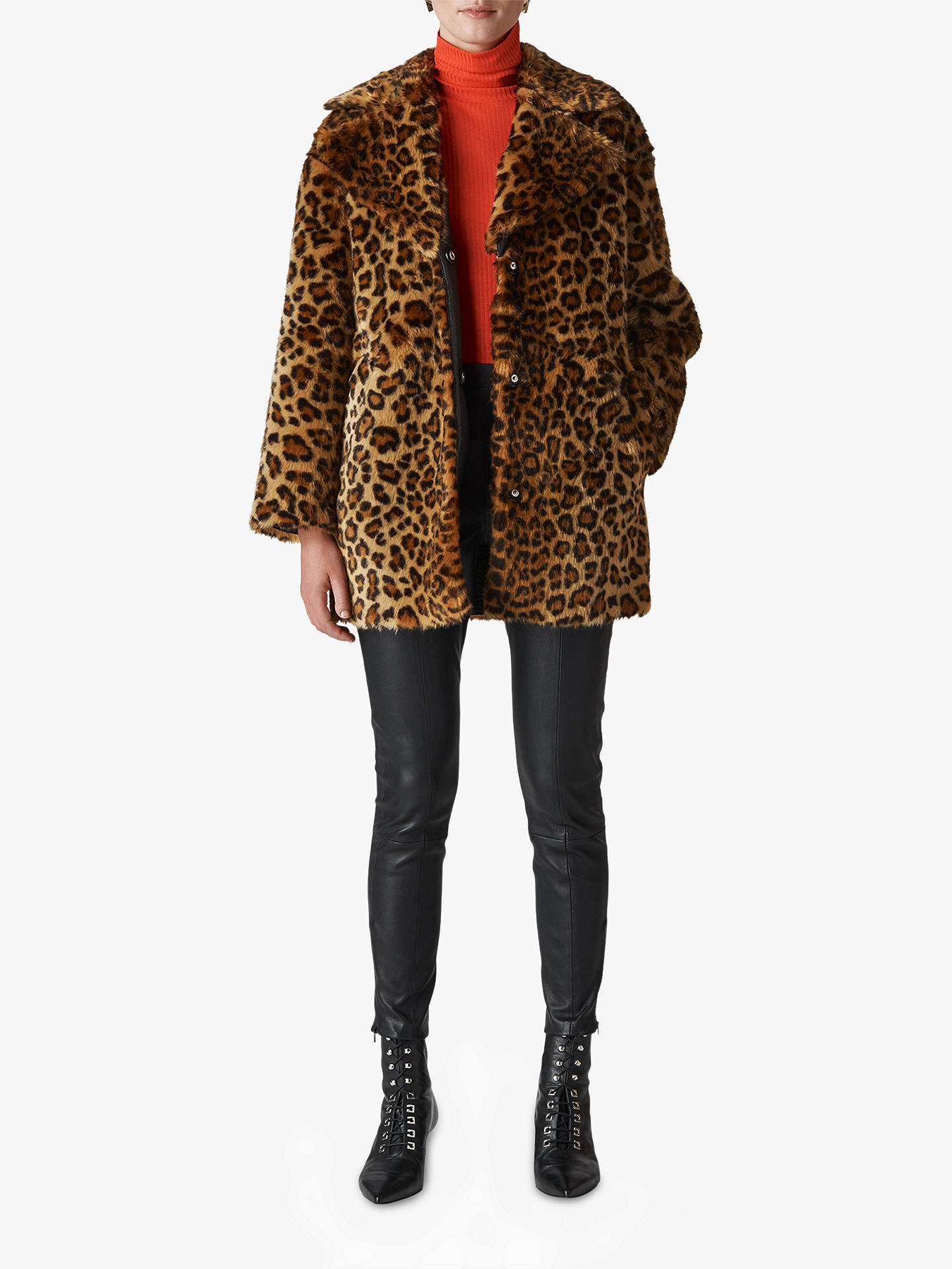 896f6d4980 Buy Whistles Animal Faux Fur Cocoon Coat, Multi, S Online at johnlewis.com  ...