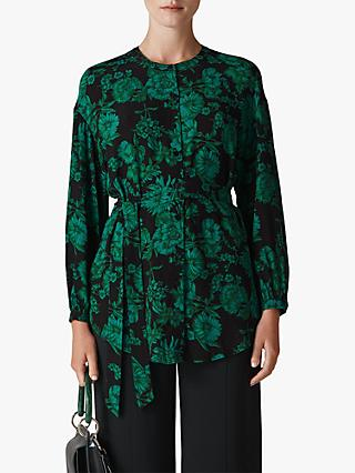 Whistles Floral Tie Waist Tunic Blouse, Green/Multi