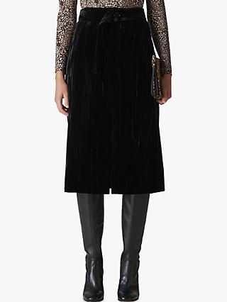 Whistles Crushed Velvet Skirt, Black