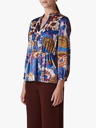 Whistles Autumn Bloom Devore Blouse, Multi