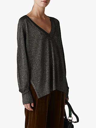 Whistles V-Neck Sparkle Knit Jumper, Silver