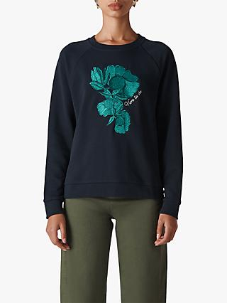 Whistles Floral Embroidered Jumper, Navy