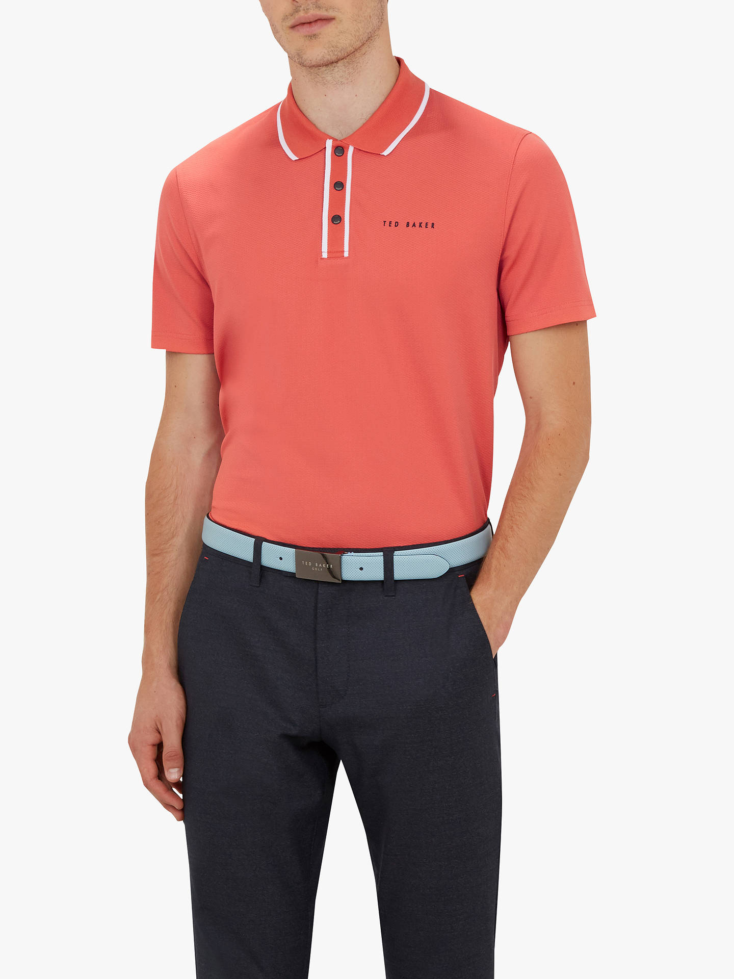 BuyTed Baker Bunka Golf Polo Shirt, Coral, XL Online at johnlewis.com