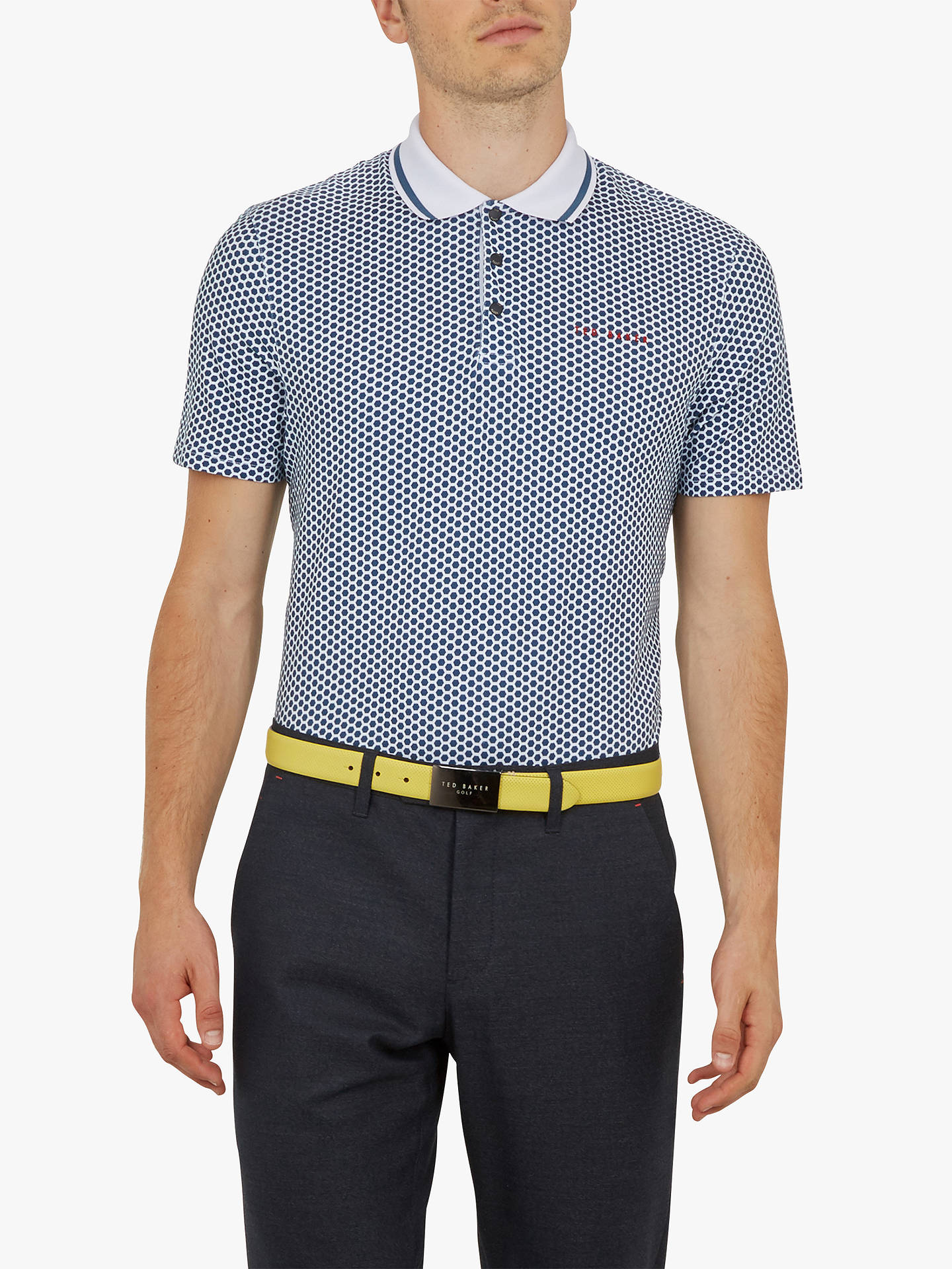 75cda6582e447c Ted Baker Golf Erine Hexagon Geo Print Polo Shirt at John Lewis ...