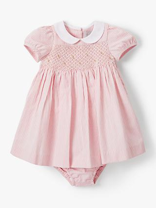 John Lewis & Partners Heirloom Collection Rose Stripe Dress and Knickers Set, Pink