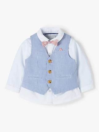 1b8f1360a John Lewis & Partners Heirloom Collection Baby Textured Stripe Waistcoat & Shirt  Set, Blue. Quick view