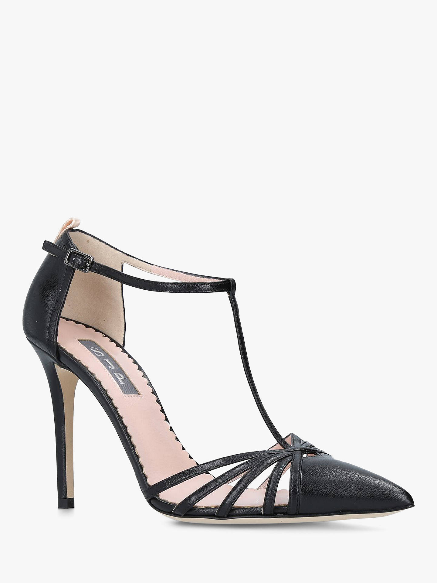 Buy SJP by Sarah Jessica Parker Carrie 100 Stiletto Heel Court Shoes, Black Leather, 8 Online at johnlewis.com