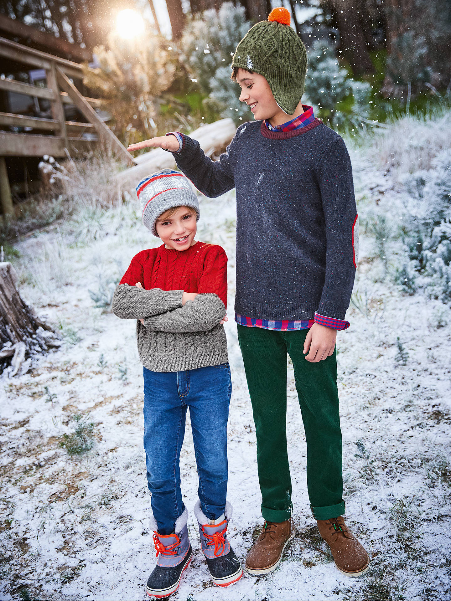 a62c401ff1 Mini Boden Boys  Colour Block Cable Knit Jumper at John Lewis   Partners