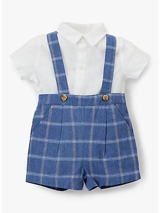 8ddb8872b40f John Lewis & Partners Heirloom Collection Linen Check Print Bibshort and  Shirt Set, ...