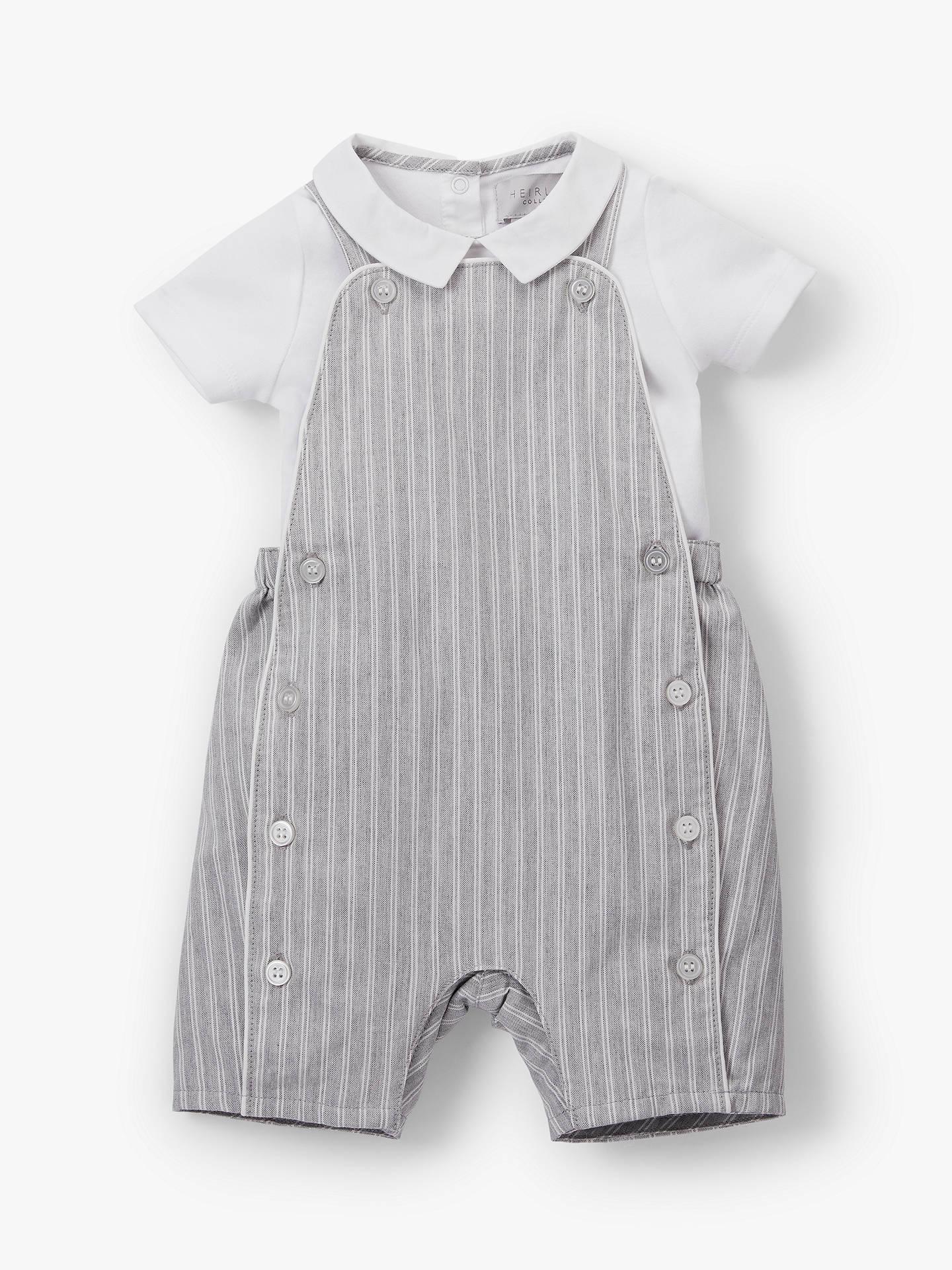 bd578dfb5 Buy John Lewis & Partners Heirloom Collection Linen Cotton Stripe Bibshort  and Bodysuit Set, Grey ...