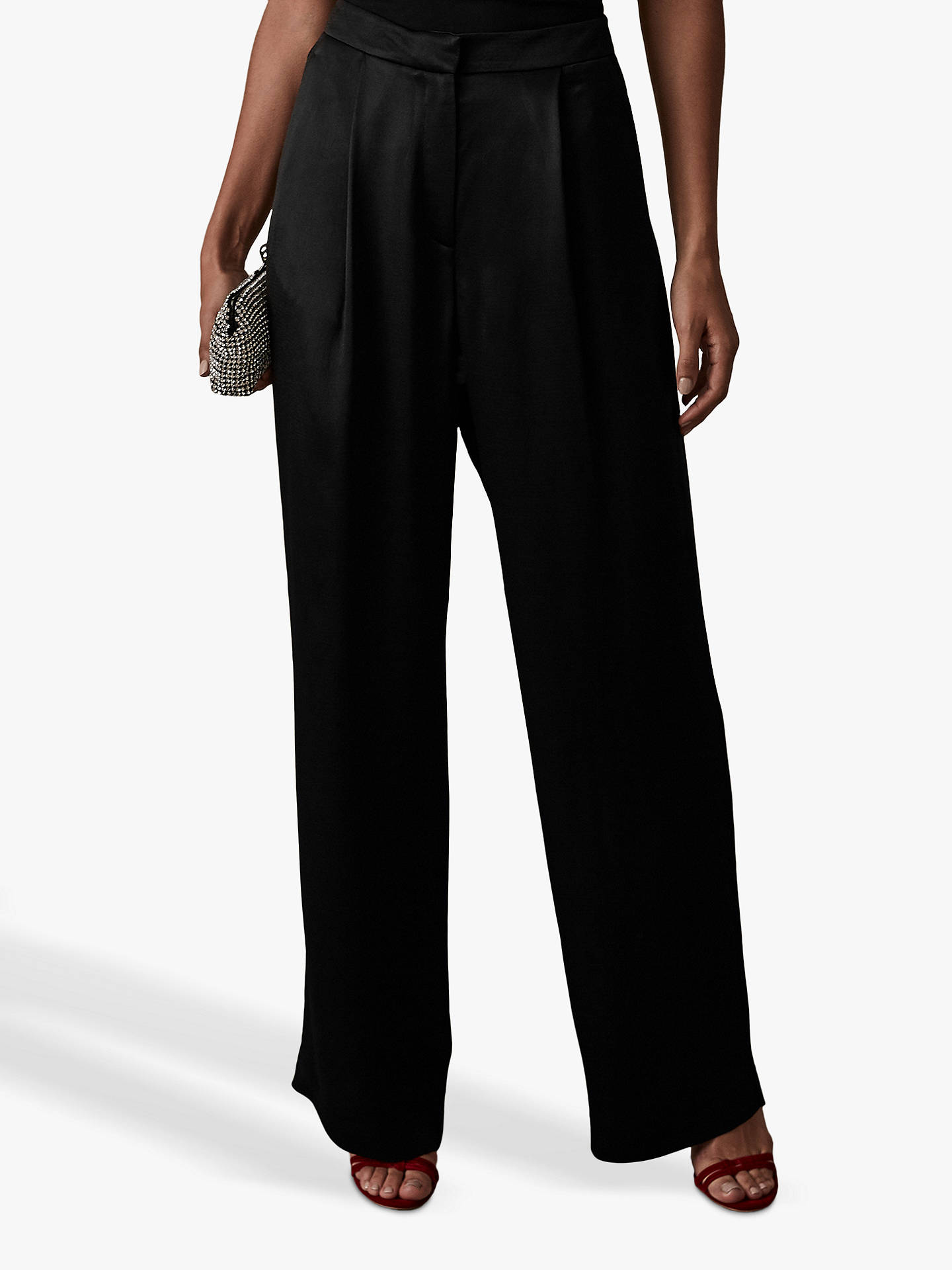 BuyReiss Milan Tarianna Wide Leg Trousers, Black, 10 Online at johnlewis.com