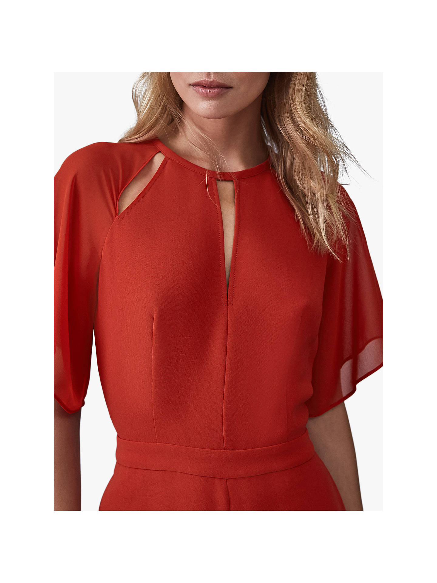 Buy Reiss Scarlet Chiffon Cut Out Jumpsuit, Red, 6 Online at johnlewis.com