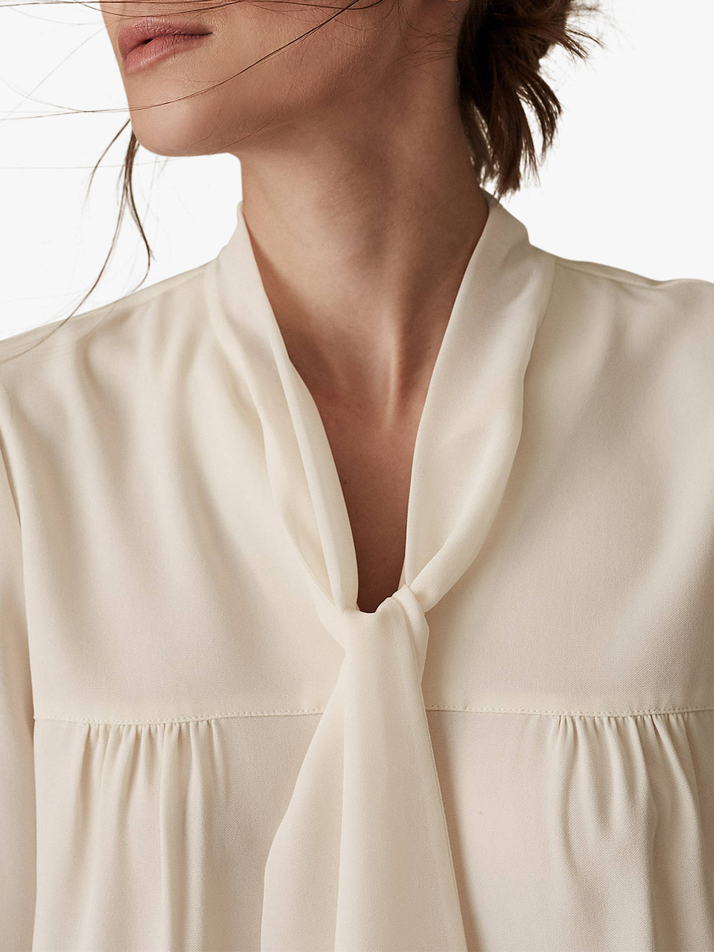 Buy Reiss Catalina Tie Neck Blouse, Off White, 6 Online at johnlewis.com