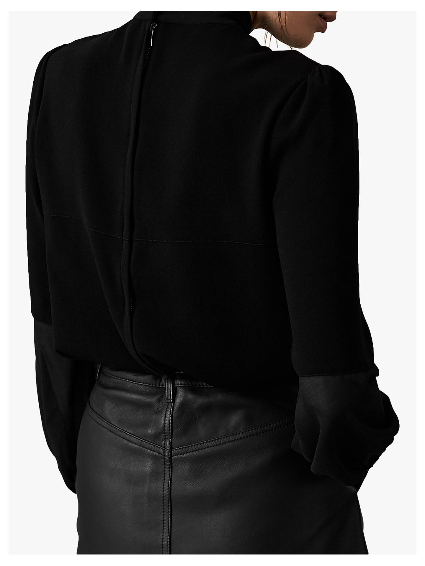 Buy Reiss Catalina Tie Neck Blouse, Black, 14 Online at johnlewis.com