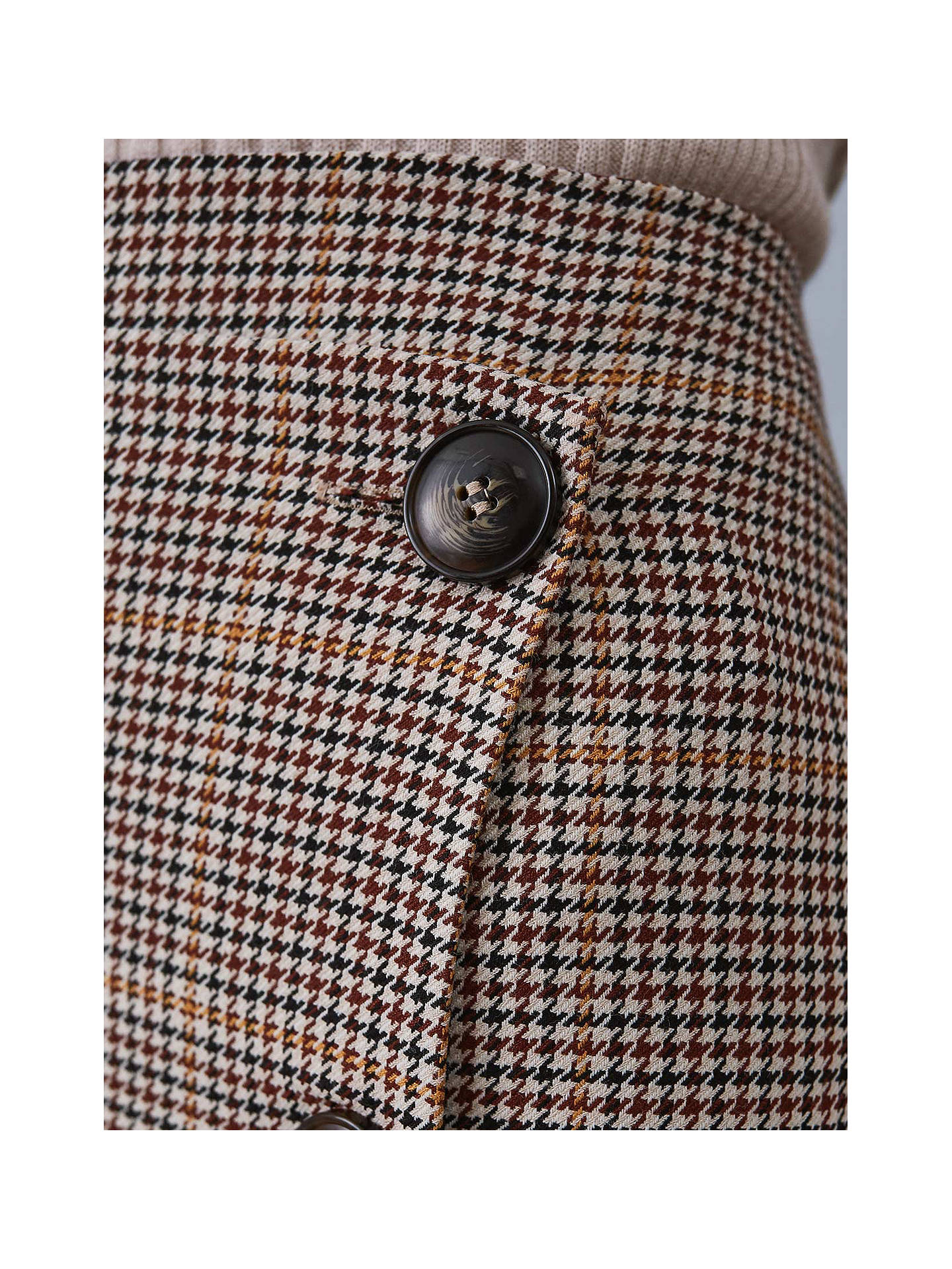 Buy Reiss Jasmine Button Detail Check Pencil Skirt, Navy/Rust, 8 Online at johnlewis.com