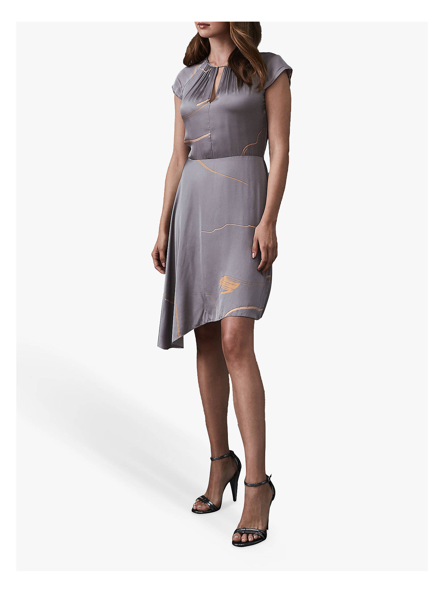 BuyReiss Zoe Printed Dress, Grey, 14 Online at johnlewis.com
