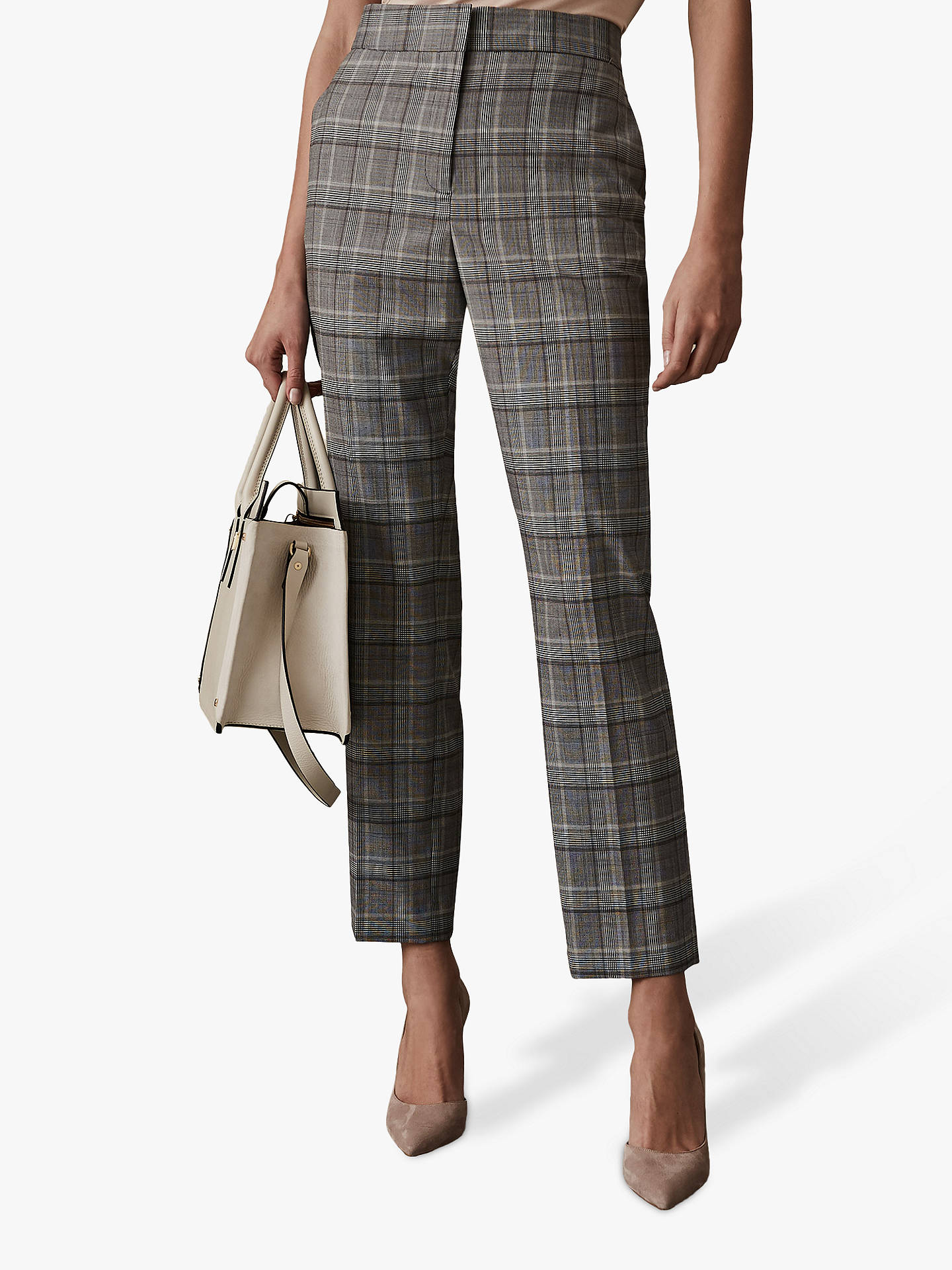 Buy Reiss Milan Ora Tailored Trousers, Grey, 6 Online at johnlewis.com
