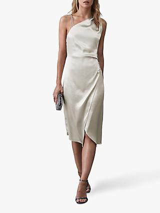 Reiss Positano Strappy Cocktail Dress, Silver
