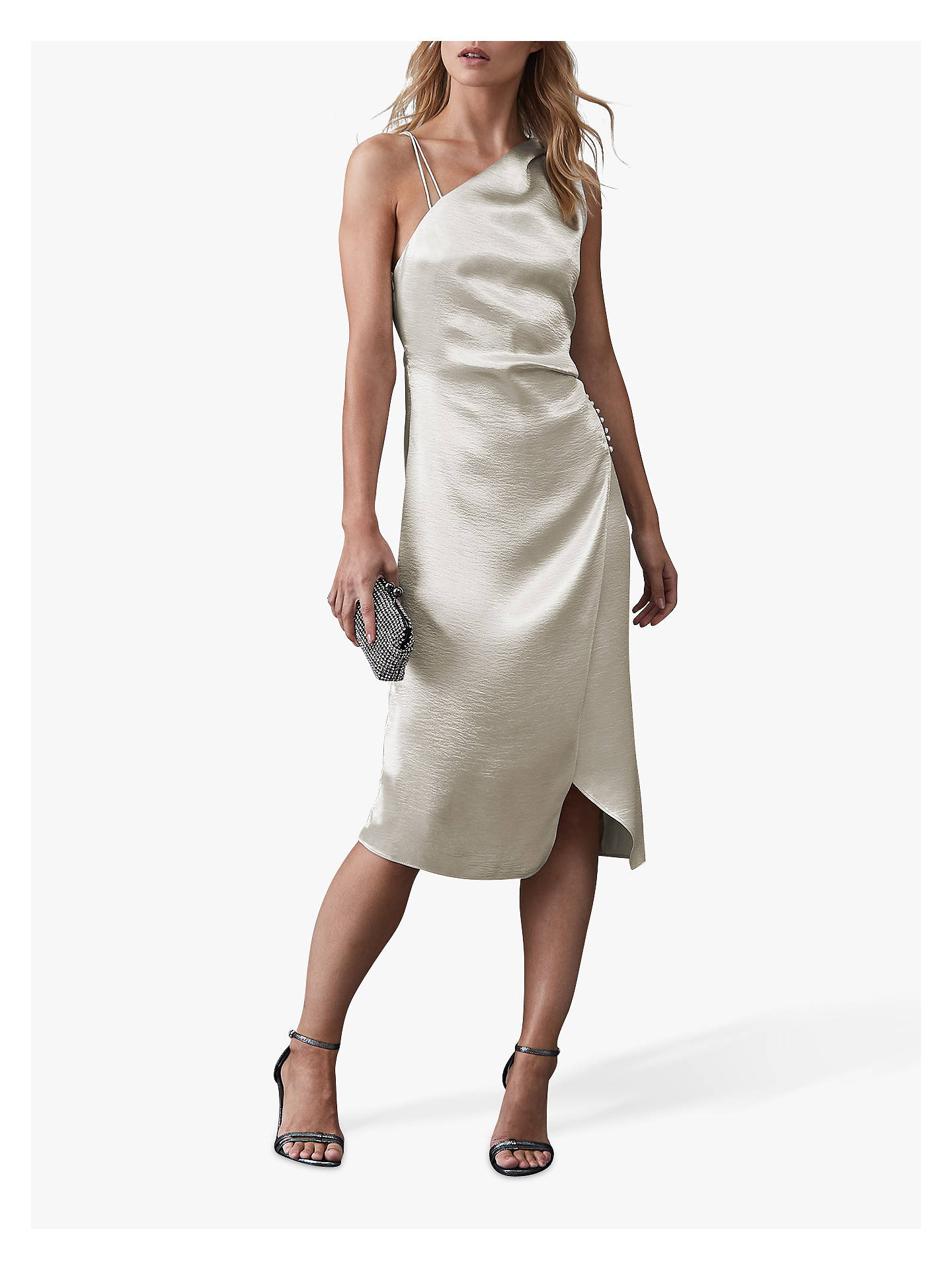 BuyReiss Positano Strappy Cocktail Dress, Silver, 16 Online at johnlewis.com