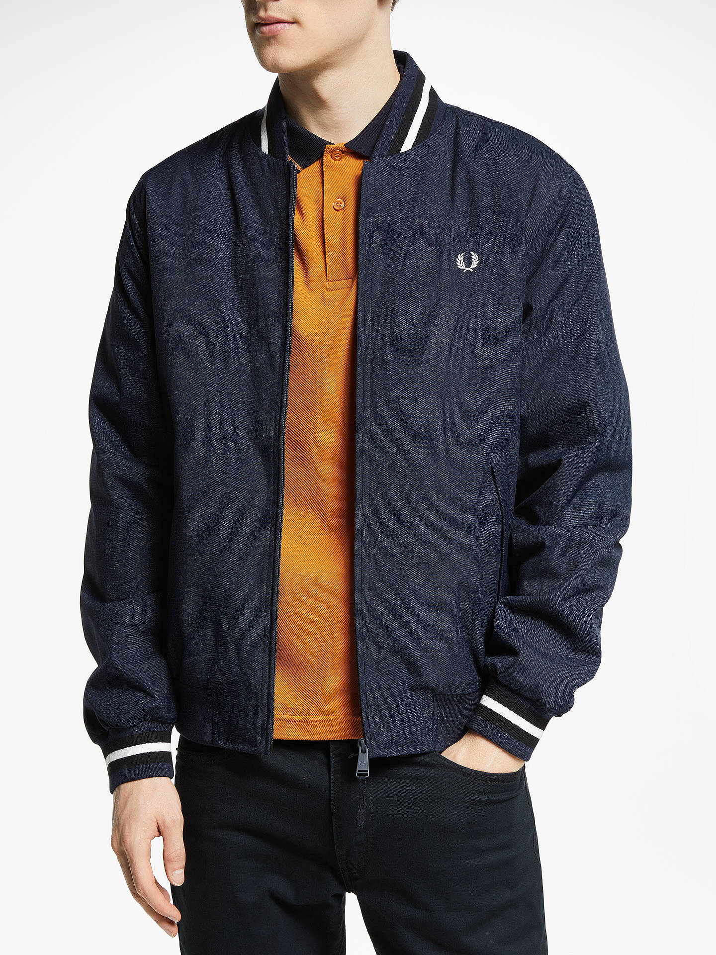 16a9be82c Fred Perry Marl Bomber Jacket, Navy at John Lewis & Partners
