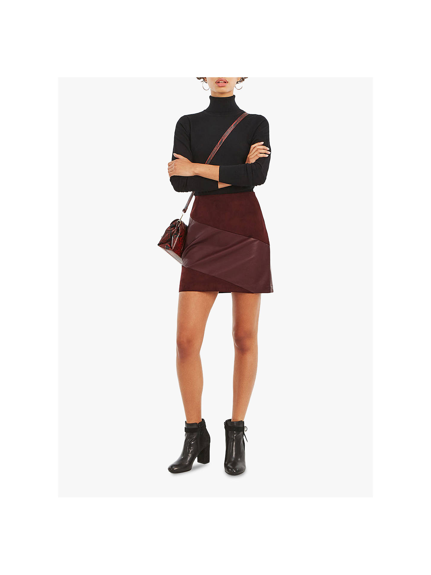 0b8f89d997 Buy Oasis Faux Leather Patch Skirt, Burgundy, 6 Online at johnlewis.com ...
