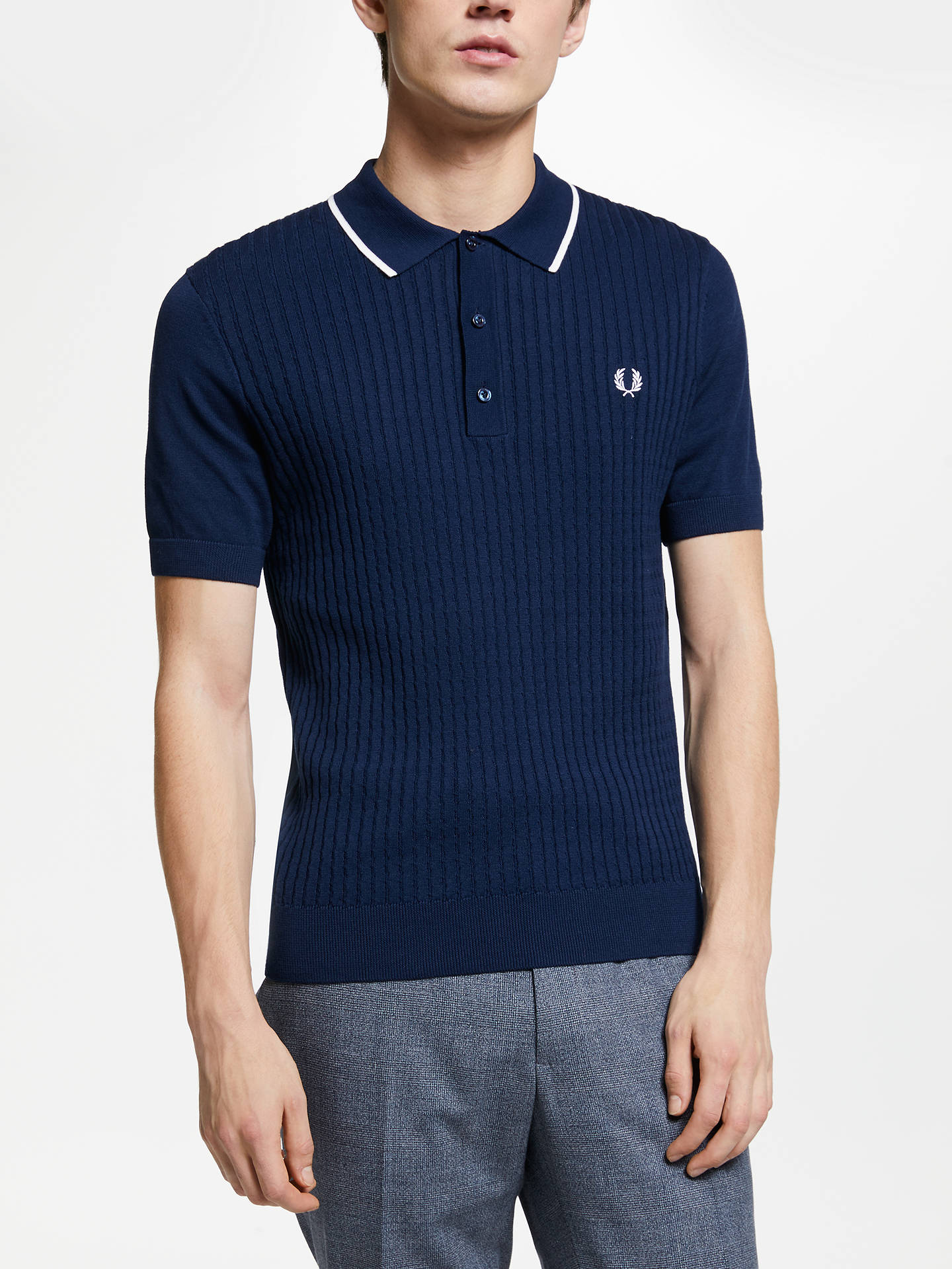 Fred Perry Knitted Short Sleeve Polo Shirt Dark Night At John Lewis