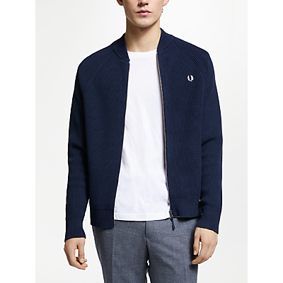 Fred Perry Knitted Bomber Cardigan, Deep Carbon