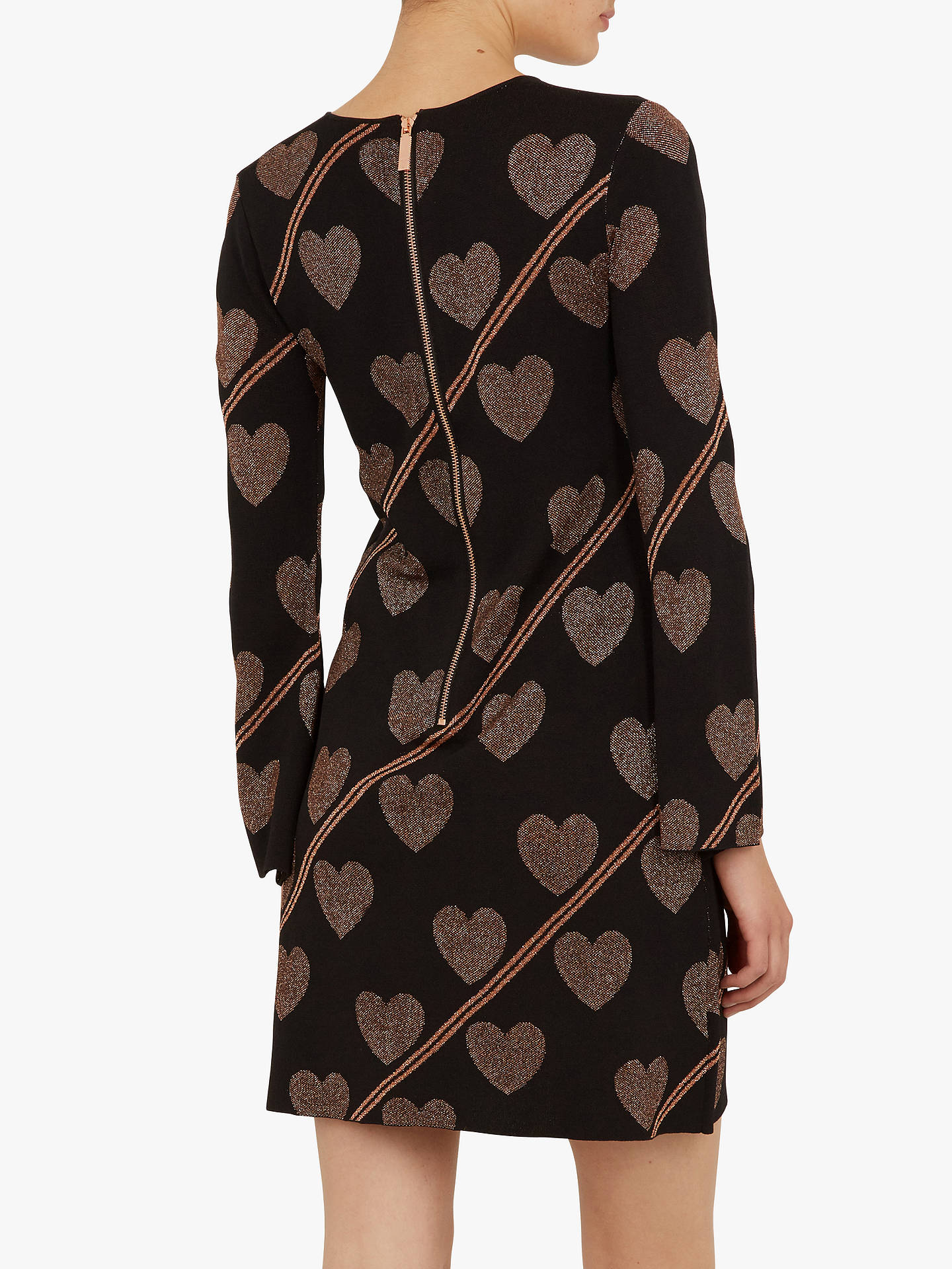 BuyTed Baker Joyous Fluted Sleeve Knitted Dress, Black, XL Online at johnlewis.com