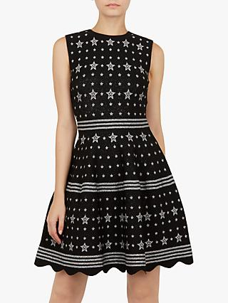 Ted Baker Lallyo Star Jacquard Knitted Dress, Black