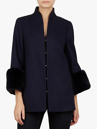 Ted Baker Rilly Faux Fur Cuff Wool Coat, Dark Blue