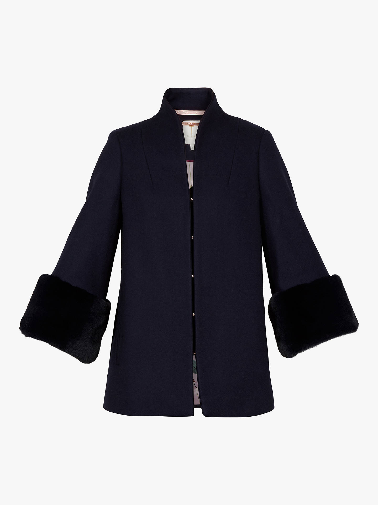 Buy Ted Baker Rilly Faux Fur Cuff Wool Coat, Dark Blue, S Online at johnlewis.com
