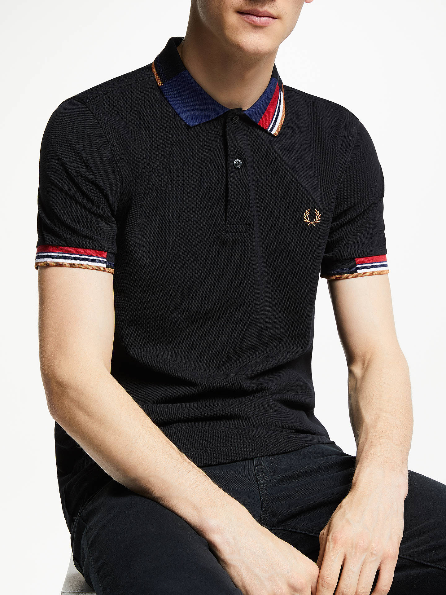 2be6844d Buy Fred Perry Abstract Collar Pique Polo Shirt, Black, XL Online at  johnlewis.