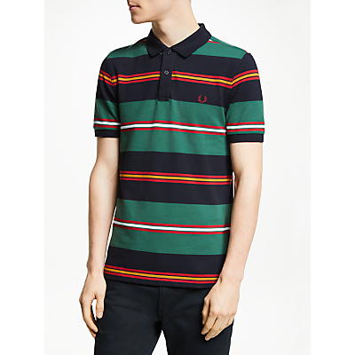 Fred Perry Contrasting Stripe Short Sleeve Polo Shirt, Navy