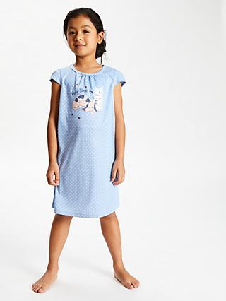 John Lewis & Partners Girls' Naptime Short Sleeve Nightdress, Blue