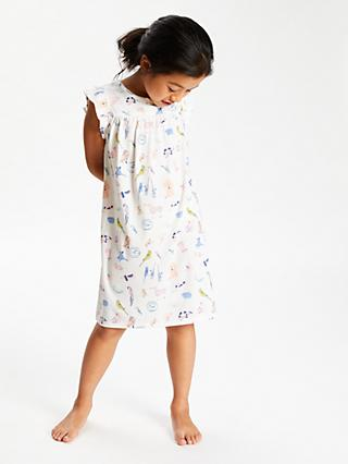 John Lewis & Partners Girls' Pets Short Sleeve Nightdress, Multi