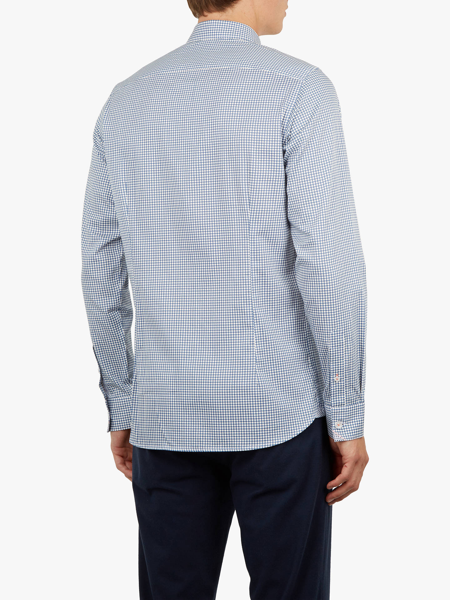 Buy Ted Baker Jenkins Long Sleeve Printed Shirt, Mid Blue, 15.5 Online at johnlewis.com
