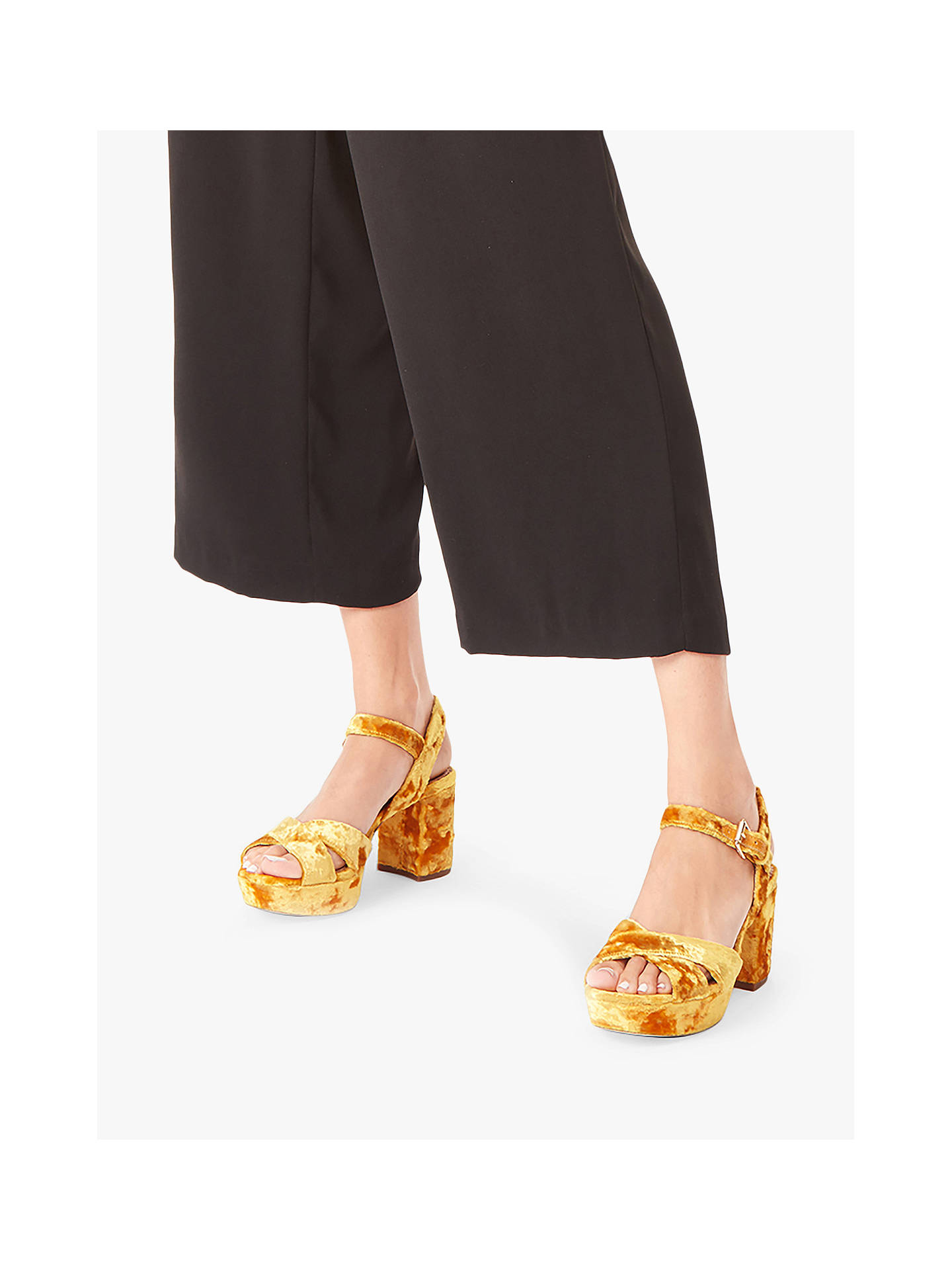 Buy Sam Edelman Jolene Block Heel Sandals, Yellow Velvet, 6 Online at johnlewis.com