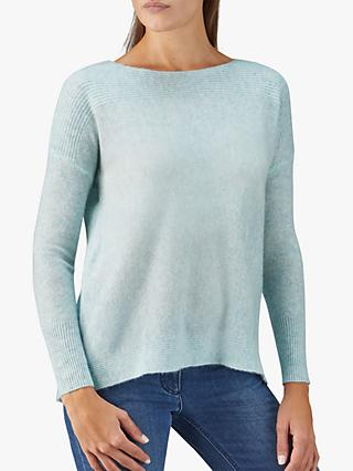 Pure Collection Rib Detail Cashmere Jumper, Light Blue