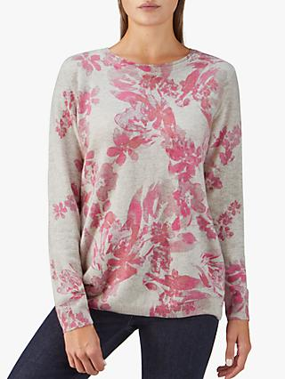 Pure Collection Floral Cashmere Boyfriend Jumper, Orange/Multi
