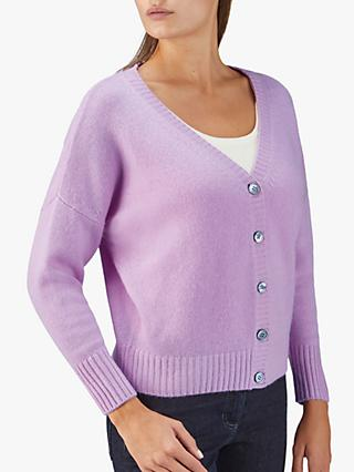 Pure Collection Cashmere Batwing Cardigan, Lilac
