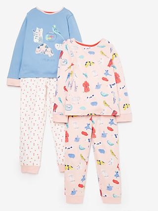 John Lewis & Partners Girls' Pet Print Pyjamas, Pack of 2, Multi