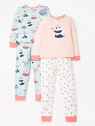 John Lewis & Partners Girls' Panda Print Pyjamas, Pack of 2, Pink/Blue