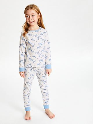 John Lewis & Partners Girls' Butterfly Print Pyjamas, Pack of 2, White/Blue