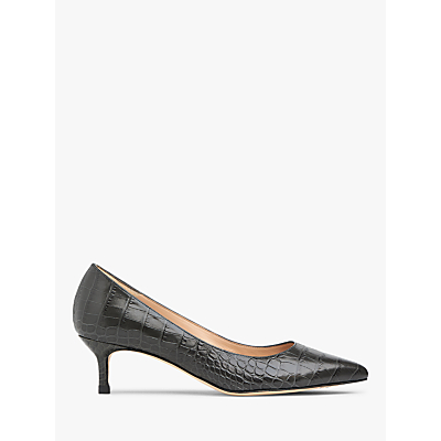 L.K.Bennett Audrey Pointed Toe Court Shoes, Grey Croc Leather