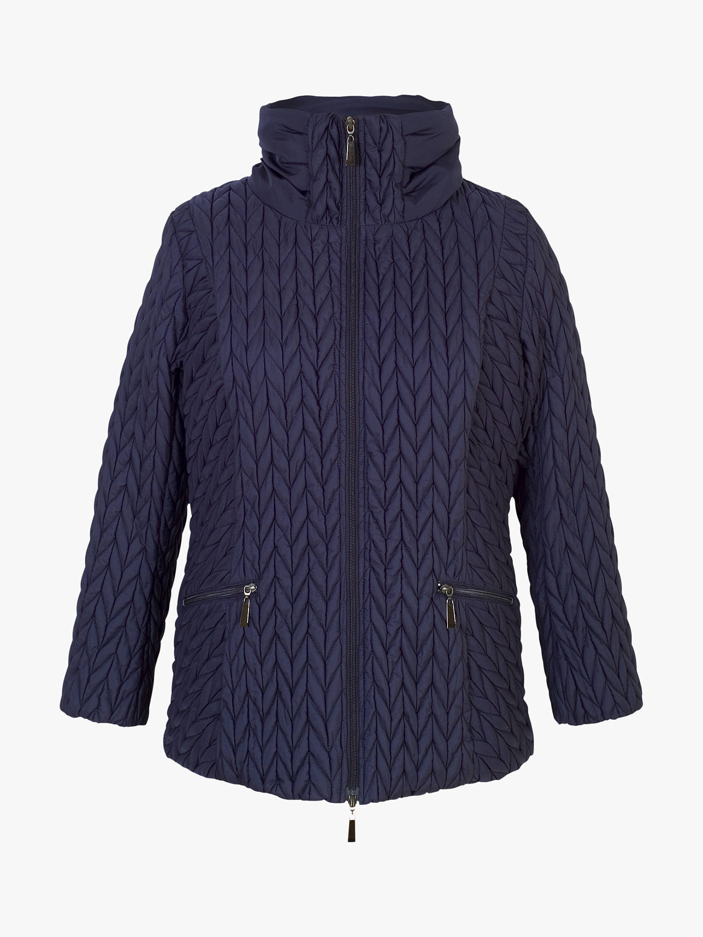 BuyChesca Cable Embroidered Quilted Coat, Blue, 12-14 Online at johnlewis.com