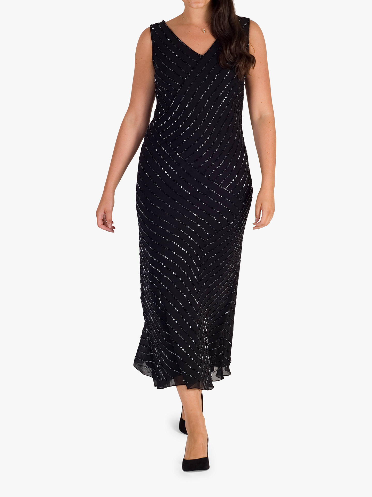 BuyChesca Diagonal Beaded Dress, Black, 12 Online at johnlewis.com