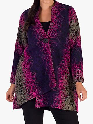 Chesca Asymmetric Embroidered Coat, Grape/Pink