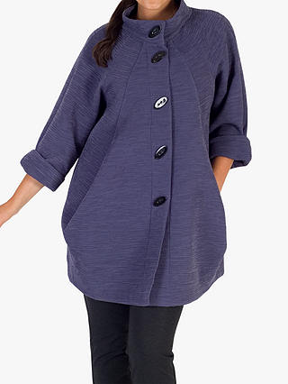 Buy Chesca Button Detail Crinkle Coat, Purple, 12-14 Online at johnlewis.com